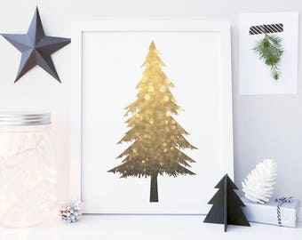 8x10 16x20 gold glitter christmas tree printable wall art white and gold christmas tree - Large Christmas Tree