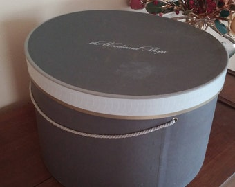 """Vintage Gray Round  Classic Hat Box Woodward Shops from JL Hudson's  13.5"""" Diameter 8"""" Tall"""