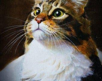 Custom Cat painting, Cat, Oil Portrait, custom portrait, portrait from photo, original portrait, animal portrait,handmade,gift idea, Cat art