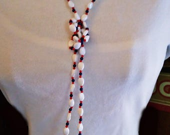 Ladies Vintage 60's Acrylic and Glass Beaded Necklace July 4th Red White Blue