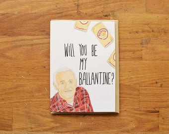 Frasier funny valentines card, funny valentines day card, Ballantine beer card, funny card for valentine's day, funny valentines