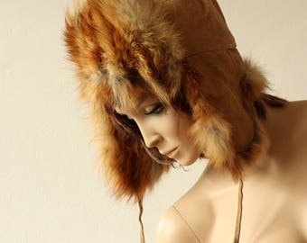 REAL FUR and LEATHER Vintage  70s Cap Warm Fox Fur Soviet Russia Style Trapper Hat Ushanka Hat Russian fur cap with ear flaps