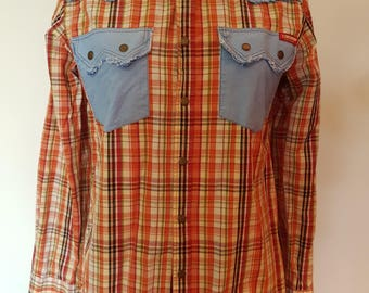 R.M. Williams Vintage Mens Longhorn Western Shirt// SZ S//Slim Fit//Retro//Check// SH079.OP