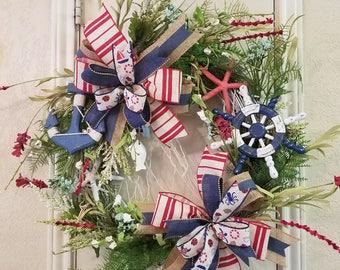 Nautical Decor, Beach Decor, Beach Wreath, Nautical Wall Decor,Grapevine Wreath, Grapevine Beach Decor, Seashell Wreath, Seashell Decor