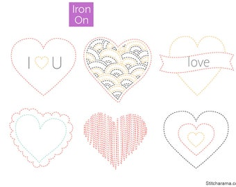 Sweet Hearts Embroidery Pattern • Iron On Transfer (PDF Available)