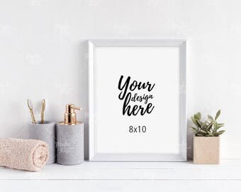 8x10 white wooden frame mockup / Styled stock photography / Instant download / vertical frame / #8585