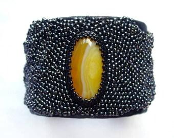 Cuff bracelet Black leather bracelet Wide cuff bracelet Leather cuff bracelet for women Original bracelet 3rd anniversary gift Yellow agate