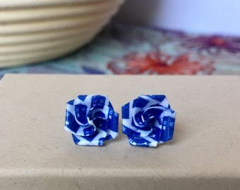 TARDIS Earrings // Doctor Who Earrings // Bridesmaid Gift // Post Earrings // Origami Rose // Studs // Gifts for Her // Dr Who