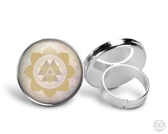 Durga Yantra Ring | Durga Ring, Yantra Jewelry, Goddess Ring, Boho Jewelry, Pastel Grunge, Mandala Ring, Paisley, Adjustable Ring