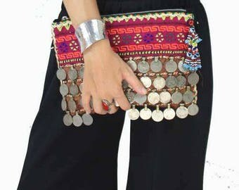 Suede Bag, Coin Bag, Banjara Bag, Boho Bag, Tribal Clutch Bag, Gypsy Clutch, Boho Clutch, Festival Bag called Jade