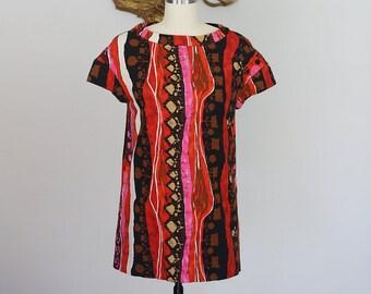 Vintage 1960's Multi-Color Barkcloth Hawaiian Top