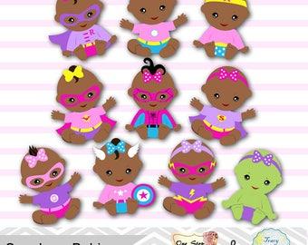 Africa American Baby Girl Superhero Digital Clipart, Pink Purple Africa American Superhero Baby Girl Clip Art, Superhero Baby Shower 0281