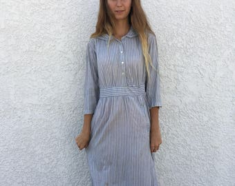 Antique Powder Blue Ticking Cotton Farm Dress