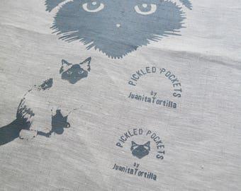 Linen Tea Towel Seal Point Birman Ragdoll Pickle Cat. Hand Printed Limited Edition. Oatmeal 4.