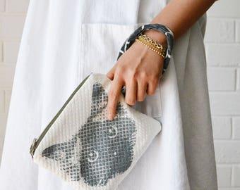 Ragdoll Birman Pickle Cat Face Hand-printed Berry Black Wrist strap Left-handed Zipper Pouch
