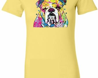 Ladies Neon Bulldog Longer Length Tee T-Shirt 19053NBT2-6004