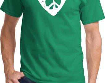 Men's Hippie Heart Peace Tee T-Shirt HIPPIEHEART-PC61