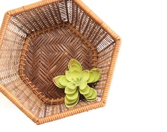 Woven Wicker Bowl, Hexagon Basket Bowl