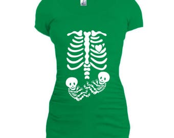 maternity clothes, halloween maternity, pregnant skeleton shirt, pregnant costumes, skeleton baby shirt, twins t shirt, twins t shirts store