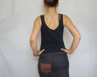 Skirt woman in jeans with Pocket red polka dots