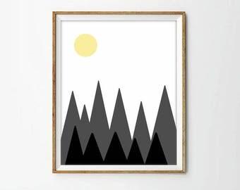mountains print, nursery decor, nursery sun, living room art, modernist art, modernist decor, travel, black and white, 4 SIZES INCLUDED