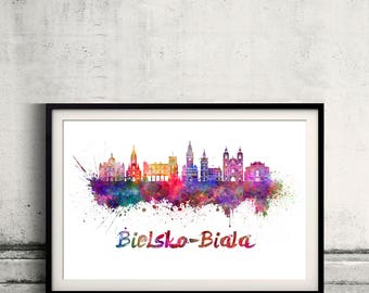 Bielsko Biala skyline in watercolor over white background with name of city - Poster Wall art Illustration Print - SKU 2791