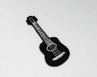 Black Guitar Little Ukule Patch (S) - Black Guitar Applique Embroidered Iron on Patch  Size 2.1x5.8 cm