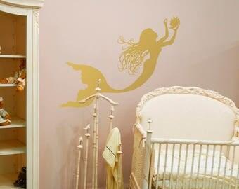 Gold Mermaid Wall Decal Girl Nursery Decor By FWD  Mermaid Wall Sticker  Nymph Girl Decal