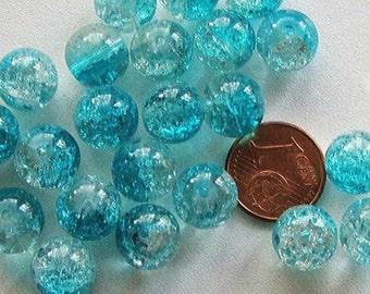20 perles verre craquelé rond 10mm Transparent Bleu Clair DIY création bijoux