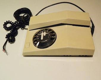 Vintage  Telephone Dial Rotary 1980s, Beige Telephone, Corded Phone,Antique Phone, Téléphone Vintage à Cadran