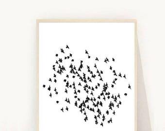 Flying Birds Print, Bird Art Print, Flock of Birds, Printable Art, Wall Art Prints,  Minimalist Print,  Instant Download, Wall Decor