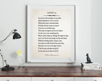 Sonnet 116 by William Shakespeare Poetry Love Poem Love Poetry Love Wall Art Gift for Wife Husband Boyfriend Girlfriend