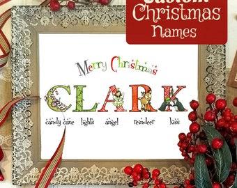 One Name Christmas Alphabet Print