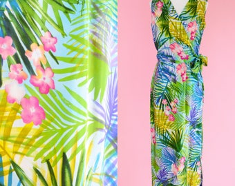 Vintage Silk Wrap Dress // Tropical Print, Maxi Dress, Blue, Green, Pink Floral Print, Women Size Small
