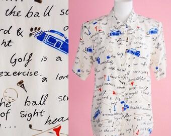 Ladies Silk Vintage Golf Shirt // 1990s, Cream White, Blouse, Sportswear, Novelty Print Top, Women Size Small