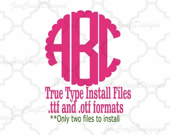 Scalloped Monogram Font in True Type format .TTF & .OTF Installable Circle Font for Cricut, Design Space, Microsoft Word and more