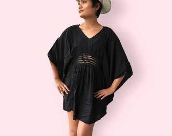 Black crochet beach dress, BW07 Black, beach dress,  holiday, maternity wear, lounge wear, poolside party wear, party dress, fun dress