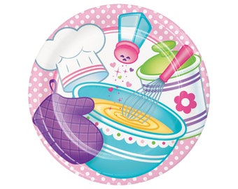 "9"" Cooking Party Plates - Baking Party Plates, Chef Party Decorations Cupcake Party Supplies Cookie Baking Party Baking Birthday, Bake Party"