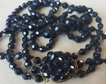 Vintage Necklace Black Glass Swarovski Signed Austrian Triple Strand Faceted Graduated Bead Beaded  Choker Necklace