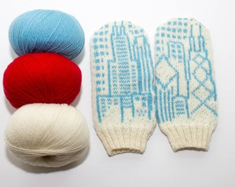 Pattern: Chicago Flag & Skyline Mittens