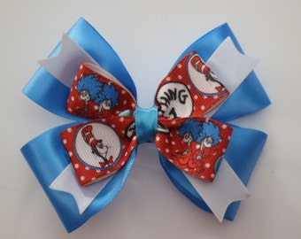 Dr Seuss Cat in the Hat, Thing 1 Thing 2 Hair Bow