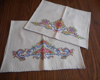 A Pair of Cross Stitched Tea Towels