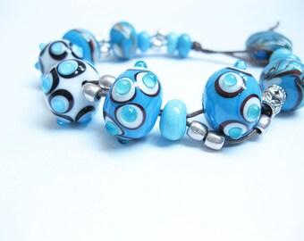 Glass pearl bracelet - blue, bracelet, glass beads, women,