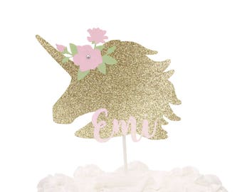 Unicorn Cake Topper - Gold Unicorn Cake Topper - Unicorn Party Decor - Custom Name Unicorn Cake Topper - Unicorn Baby Shower - Unicorn Party