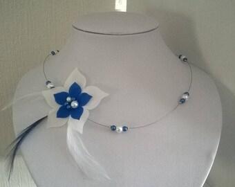 wedding bridal necklace white silk flower holiday / dark blue feathers beads
