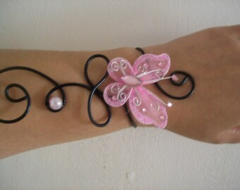 Bridal bracelet wedding party ceremony pink butterfly bead Black Aluminum wire Christmas holiday party