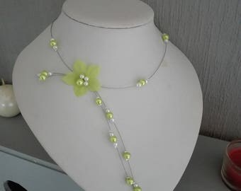 Wedding bridal evening necklace silk flower anise green, ivory pearls / ceremony lime green holidays