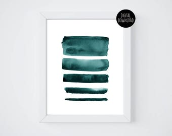 turquoise lines watercolor painting // 8x10 // printable digital download