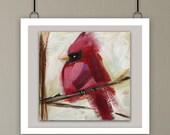 BIRD ART, Cardinal, Fine art print, Giclee print, bird in tree, Woodscape Art, bird lovers, red cardinal