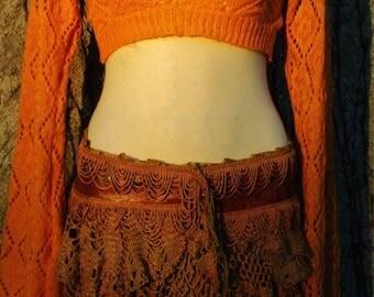 Diamond Pumpkin Knitted Hoodie, Jacket Bolero Crop Top Shirt, Elf Hood, Pixie Faerie Fairy Elven Elf, Mustard Sunflower Knit Knitt Golden